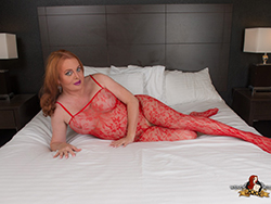 Wendy gets super kinky in her red hot lace and anatomy stockings.